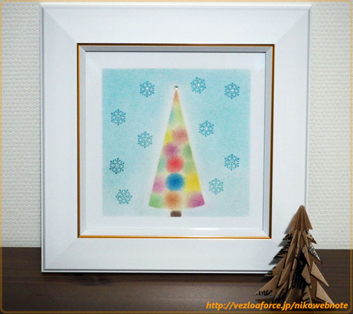 カラフルツリーと雪模様
