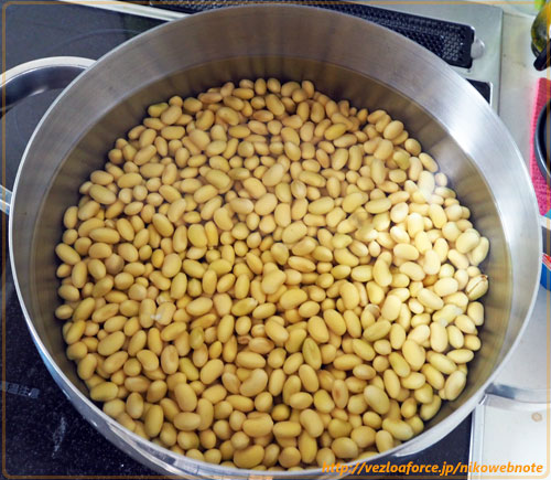 水を吸った大豆