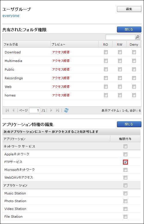 QNAPユーザアクセス権設定