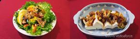 かぼっコリーと醤油漬け豚のせサラダ調理例