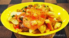 トマトとハンバーグの豪快グリル調理例