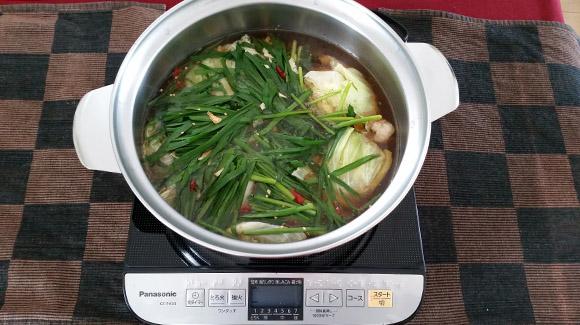 博多モツ鍋調理例